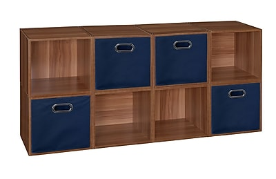 Niche Cubo Storage Set - 8 Cubes and 4 Canvas Bins- Warm Cherry/Blue (PC8PKWC4TOTEBE)