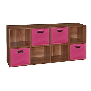 Niche Cubo Storage Set, 8 Cubes and 4 Canvas Bins, Warm Cherry/Pink (PC8PKWC4TOTEPK)