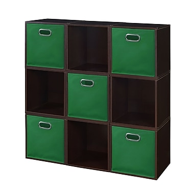 Niche Cubo Storage Set, 9 Cubes and 5 Canvas Bins, Truffle/Green (PC9PKTF5TOTEGN)