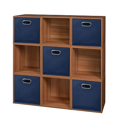 Niche Cubo Storage Set, 9 Cubes and 5 Canvas Bins, Warm Cherry/Blue (PC9PKWC5TOTEBE)