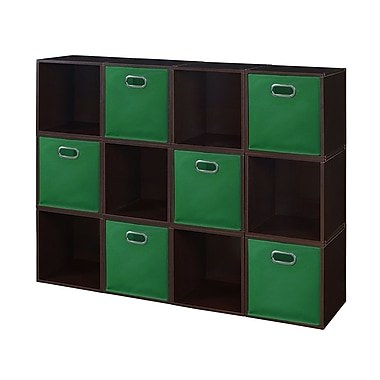 Niche Cubo Storage Set, 12 Cubes and 6 Canvas Bins, Truffle/Green (PC12PKTF6TOTEGN)
