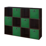 Niche Cubo Storage Set - 12 Cubes and 6 Canvas Bins- Truffle/Green (PC12PKTF6TOTEGN)
