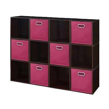 Niche Cubo Storage Set, 12 Cubes and 6 Canvas Bins, Truffle/Pink (PC12PKTF6TOTEPK)