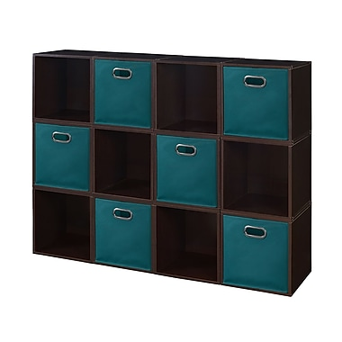 Niche Cubo Storage Set, 12 Cubes and 6 Canvas Bins, Truffle/Teal (PC12PKTF6TOTETL)