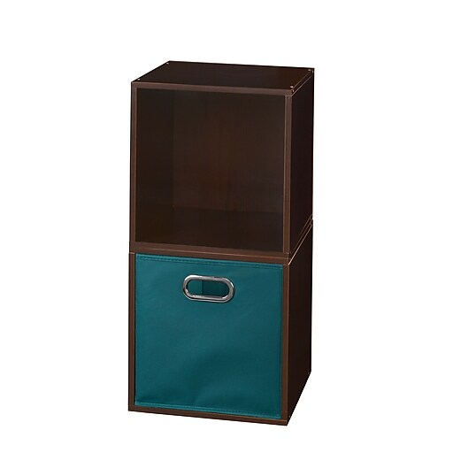 Niche Cubo Storage Set - 2 Cubes and 1 Canvas Bin- Truffle/Teal (PC2PKTF1TOTETL)