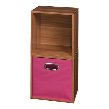 Niche Cubo Storage Set - 2 Cubes and 1 Canvas Bin- Warm Cherry/Pink (PC2PKWC1TOTEPK)