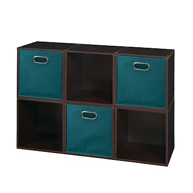 Niche Cubo Storage Set, 6 Cubes and 3 Canvas Bins, Truffle/Teal (PC6PKTF3TOTETL)