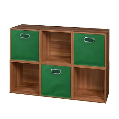 Niche Cubo Storage Set, 6 Cubes and 3 Canvas Bins, Warm Cherry/Green (PC6PKWC3TOTEGN)