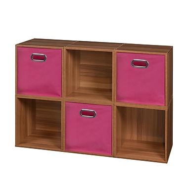 Niche Cubo Storage Set, 6 Cubes and 3 Canvas Bins, Warm Cherry/Pink (PC6PKWC3TOTEPK)