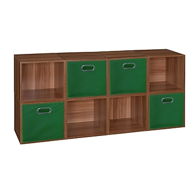 Niche Cubo Storage Set, 8 Cubes and 4 Canvas Bins, Warm Cherry/Green (PC8PKWC4TOTEGN)
