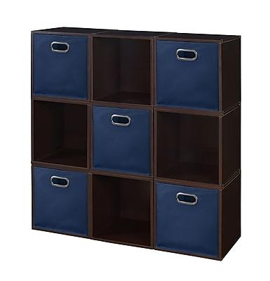 Niche Cubo Storage Set - 9 Cubes and 5 Canvas Bins- Truffle/Blue (PC9PKTF5TOTEBE)