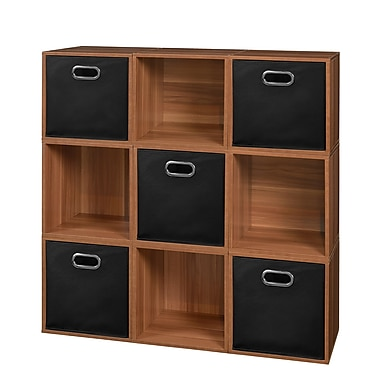 Niche Cubo Storage Set, 9 Cubes and 5 Canvas Bins, Warm Cherry/Black (PC9PKWC5TOTEBK)