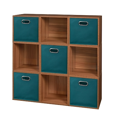 Niche Cubo Storage Set, 9 Cubes and 5 Canvas Bins, Warm Cherry/Teal (PC9PKWC5TOTETL)