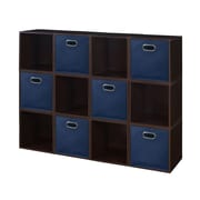 Niche Cubo Storage Set - 12 Cubes and 6 Canvas Bins- Truffle/Blue (PC12PKTF6TOTEBE)