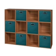 Niche Cubo Storage Set - 12 Cubes and 6 Canvas Bins- Warm Cherry/Teal (PC12PKWC6TOTETL)