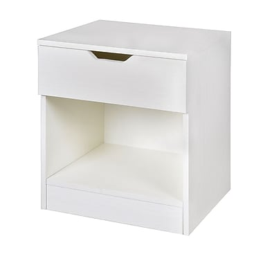 Niche Mod Single Drawer Night Stand, White Wood Grain (NNS2116WH)