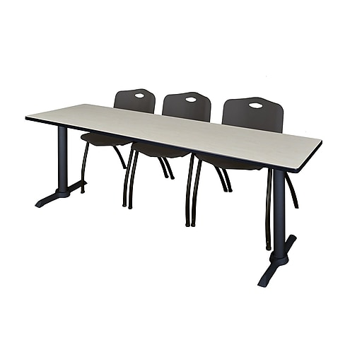 """Regency Cain 84"""" x 24"""" Training Table- Maple and 3 'M' Stack Chairs- Black (MTRCT8424PL47BK)"""