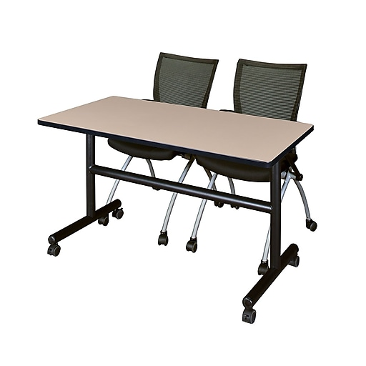 "Regency Kobe 48"" Flip Top Mobile Training Table- Beige and 2 Apprentice Chairs- Black (MKFT4824BE09BK)"