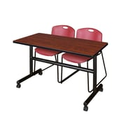 "Regency Kobe 48"" Flip Top Mobile Training Table- Cherry and 2 Zeng Stack Chairs- Burgundy (MKFT4824CH44BY)"