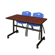 "Regency Kobe 48"" Flip Top Mobile Training Table- Cherry and 2 'M' Stack Chairs- Blue (MKFT4824CH47BE)"