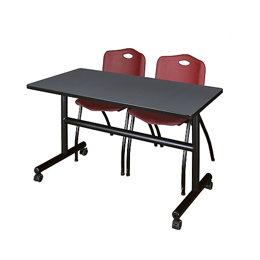 """Regency Kobe 48"""" Flip Top Mobile Training Table- Grey and 2 'M' Stack Chairs- Burgundy (MKFT4824GY47BY)"""