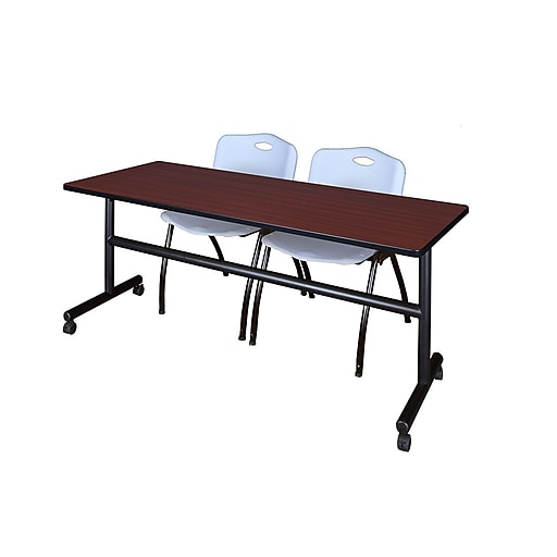 """Regency Kobe 72"""" Flip Top Mobile Training Table- Mahogany and 2 'M' Stack Chairs- Grey (MKFT7224MH47GY)"""