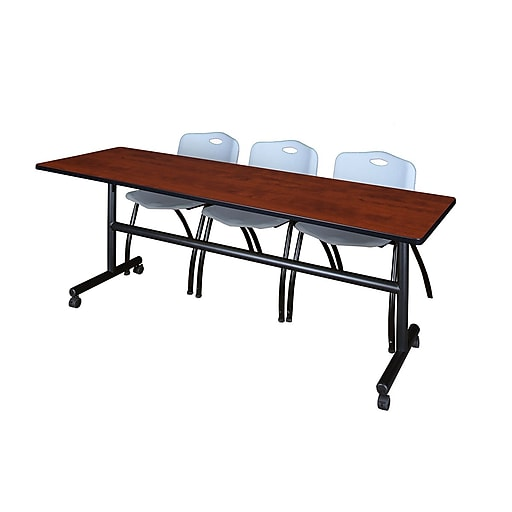 "Regency Kobe 84"" Flip Top Mobile Training Table- Cherry and 3 'M' Stack Chairs- Grey (MKFT8424CH47GY)"