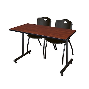 Regency ? Table de formation Kobe de 42 x 24 po au fini cerisier avec 2 chaises empilables « M »
