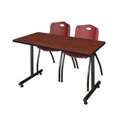 """Regency Kobe 42"""" x 24"""" Training Table- Cherry and 2 'M' Stack Chairs- Burgundy (MKTRCT42CH47BY)"""