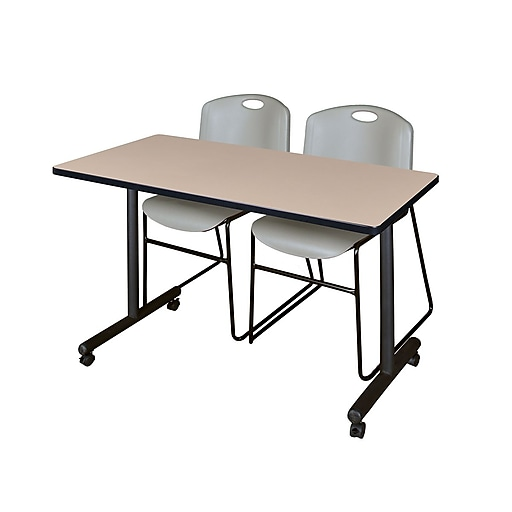 """Regency Kobe 42"""" x 24"""" Mobile Training Table- Beige and 2 Zeng Stack Chairs- Grey (MKTRCC42BE44GY)"""