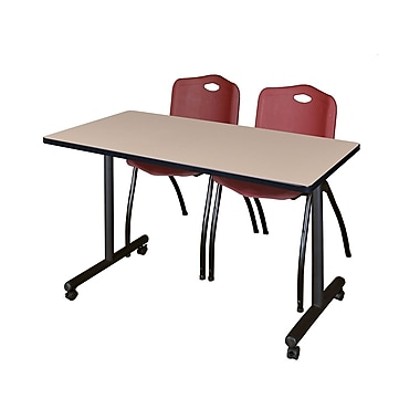 Regency – Table mobile Kobe de 42 x 24 po au fini beige avec 2 chaises empilables M bourgogne (MKTRCC42BE47BY)