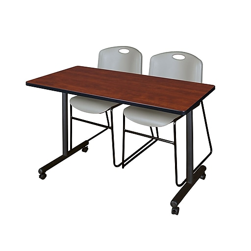 """Regency Kobe 42"""" x 24"""" Mobile Training Table- Cherry and 2 Zeng Stack Chairs- Grey  (MKTRCC42CH44GY)"""