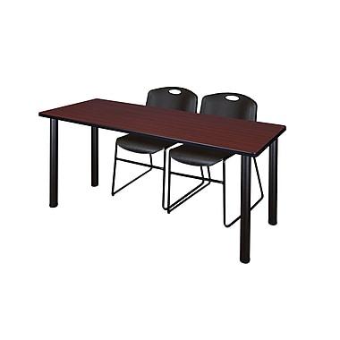 Regency – Table de formation Kee de 60 x 24 po, acajou/noir, avec 2 chaises empilables Zeng, noir (MT60MHBPBK44BK)