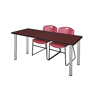 Regency – Table de formation Kee de 60 x 24 po, acajou/chrome, avec 2 chaises empilables Zeng, bourgogne (MT60MHBPCM44BY)