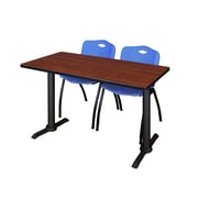"""Regency Cain 42"""" x 24"""" Training Table- Cherry and 2 'M' Stack Chairs- Blue (MTRCT4224CH47BE)"""