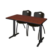"""Regency Cain 42"""" x 24"""" Training Table- Cherry and 2 'M' Stack Chairs- Black (MTRCT4224CH47BK)"""