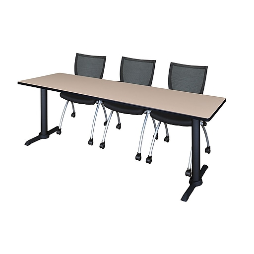 """Regency Cain 84"""" x 24"""" Training Table- Beige and 3 Apprentice Chairs- Black (MTRCT8424BE09BK)"""