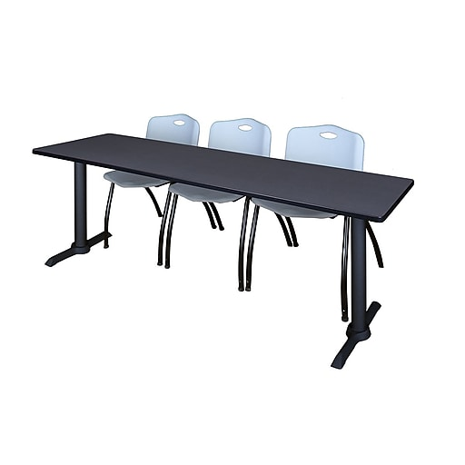 """Regency Cain 84"""" x 24"""" Training Table- Grey and 3 'M' Stack Chairs- Grey (MTRCT8424GY47GY)"""
