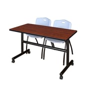 "Regency Kobe 48"" Flip Top Mobile Training Table- Cherry and 2 'M' Stack Chairs- Grey (MKFT4824CH47GY)"