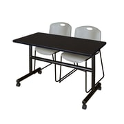 "Regency Kobe 48"" Flip Top Mobile Training Table- Mocha Walnut and 2 Zeng Stack Chairs- Grey (MKFT4824MW44GY)"