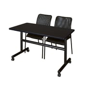 "Regency Kobe 48"" Flip Top Mobile Training Table- Mocha Walnut and 2 Mario Stack Chairs- Black (MKFT4824MW75BK)"
