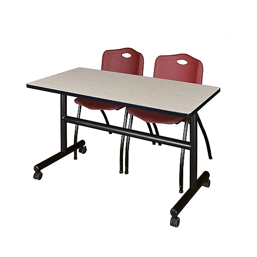 "Regency Kobe 48"" Flip Top Mobile Training Table- Maple and 2 'M' Stack Chairs- Burgundy (MKFT4824PL47BY)"