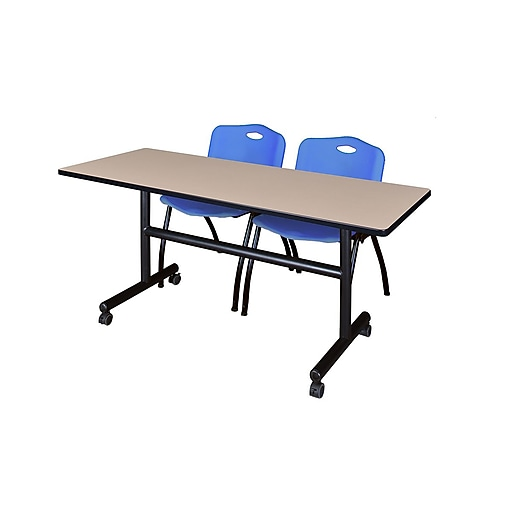 """Regency Kobe 60"""" Flip Top Mobile Training Table- Beige and 2 'M' Stack Chairs- Blue (MKFT6024BE47BE)"""