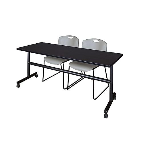 "Regency Kobe 72"" Flip Top Mobile Training Table- Mocha Walnut & 2 Zeng Stack Chairs- Gray (MKFT7224MW44GY)"
