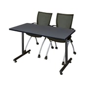 "Regency Kobe 42"" x 24"" Training Table- Grey and 2 Apprentice Chairs- Black (MKTRCT42GY09BK)"