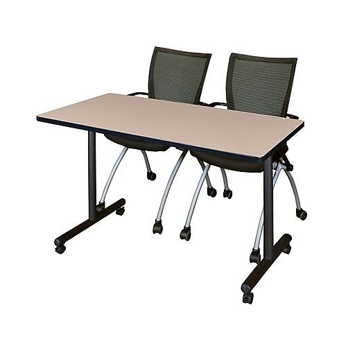 "Regency Kobe 42"" x 24"" Mobile Training Table- Beige and 2 Apprentice Chairs- Black  (MKTRCC42BE09BK)"