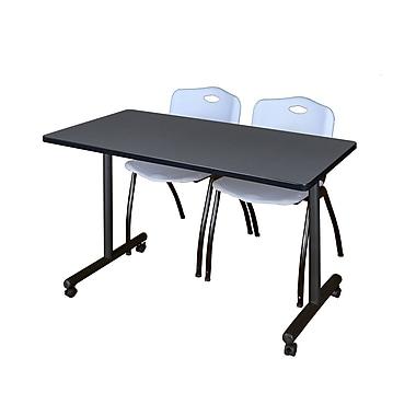 Regency – Table de formation Kobe Mobile de 42 x 24 po au fini gris avec 2 chaises empilables M grises (MKTRCC42GY47GY)