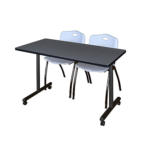 """Regency Kobe 42"""" x 24"""" Mobile Training Table- Grey and 2 'M' Stack Chairs- Grey  (MKTRCC42GY47GY)"""