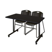 "Regency Kobe 42"" x 24"" Mobile Training Table- Mocha Walnut and 2 Zeng Stack Chairs- Black  (MKTRCC42MW44BK)"