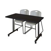 "Regency Kobe 42"" x 24"" Mobile Training Table- Mocha Walnut and 2 Zeng Stack Chairs- Grey  (MKTRCC42MW44GY)"